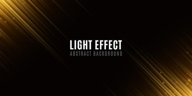 Effet de lumière de lignes de néons aléatoires abstraits dorés. modèle pour votre conception. effet de flou de mouvement. voler des particules incandescentes. lignes de néon floues sur fond noir.