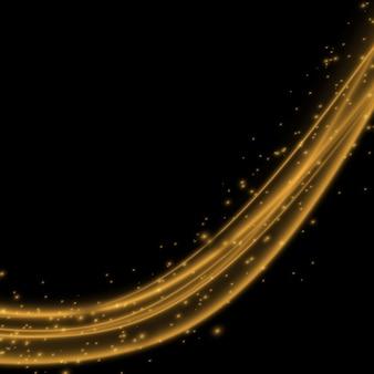 Effet de lumière avec des lignes ondulées or brillant et des étincelles isolées sur un effet spécial transparent