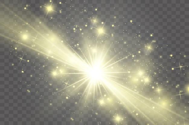 Effet de lumière lueur. l'étoile a éclaté d'étincelles.