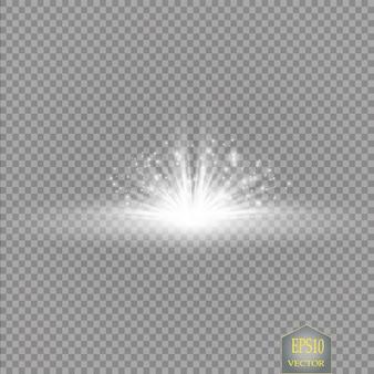 Effet de lumière lueur sur fond transparent
