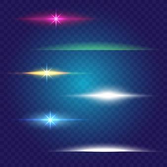 Effet de lumière lueur linéaire. ensemble de pinceaux. énergie abstraite, couleur de la ligne