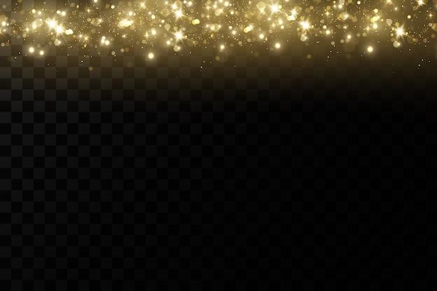 Effet de lumière lueur.particules de poussière magiques scintillantes.les étincelles de poussière et les étoiles dorées brillent