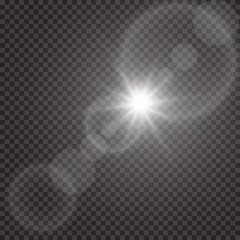 Effet de lumière de lumière parasite spécial lumière du soleil transparent. flash de soleil avec des rayons