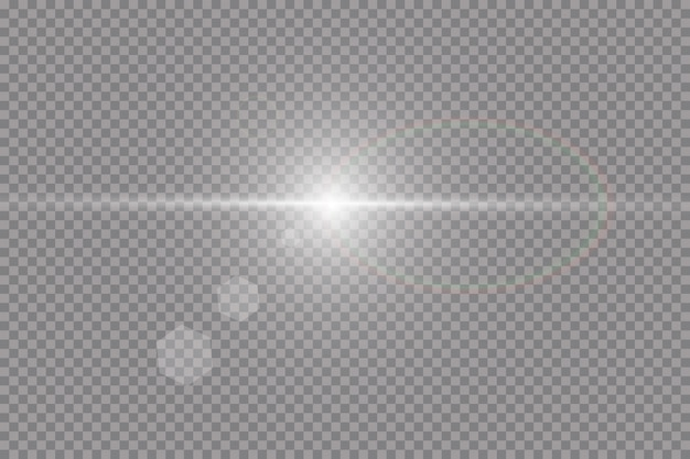 Effet de lumière de lumière parasite spéciale lumière du soleil transparent. sun flash avec rayons et projecteurs