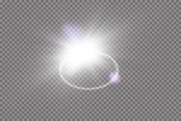 Effet de lumière de lumière parasite spéciale lumière du soleil transparent. sun flash avec des rayons et des projecteurs.