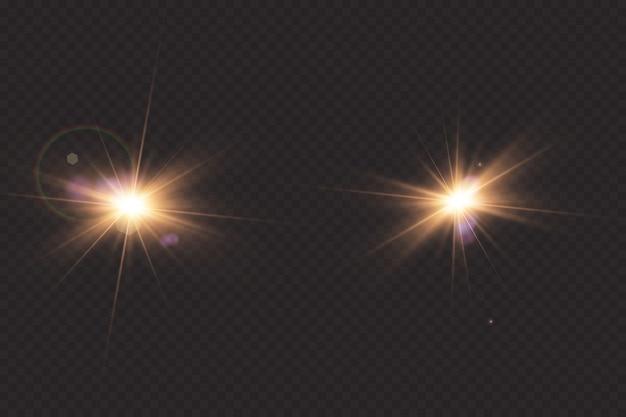 Effet de lumière de lumière parasite spéciale vecteur lumière du soleil transparent.