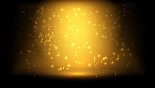 Effet de lumière luminescent transparent. fond d'éclaboussure de poudre de paillettes d'or. poussière d'or. brume magique rougeoyante.