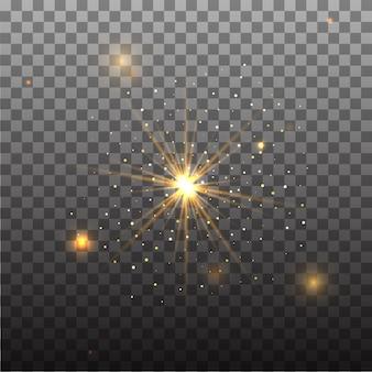 Effet de lumière luminescent transparent. star éclaté avec des étincelles.