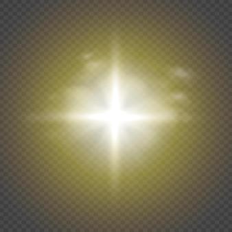 Effet de lumière luminescente. l'étoile a éclaté d'étincelles. illustration vectorielle