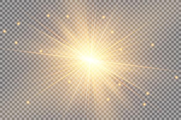 Effet de lumière luminescente. l'étoile éclate d'étincelles. soleil. illustration