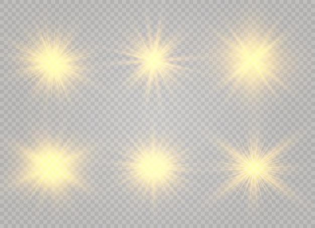 Effet de lumière luminescente. l'étoile éclate d'étincelles.