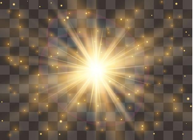 Effet de lumière luminescente, explosion, paillettes, étincelles, flash solaire. illustration