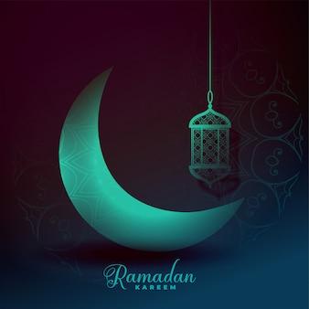 Effet de lumière magnifique eid moon et lanterne