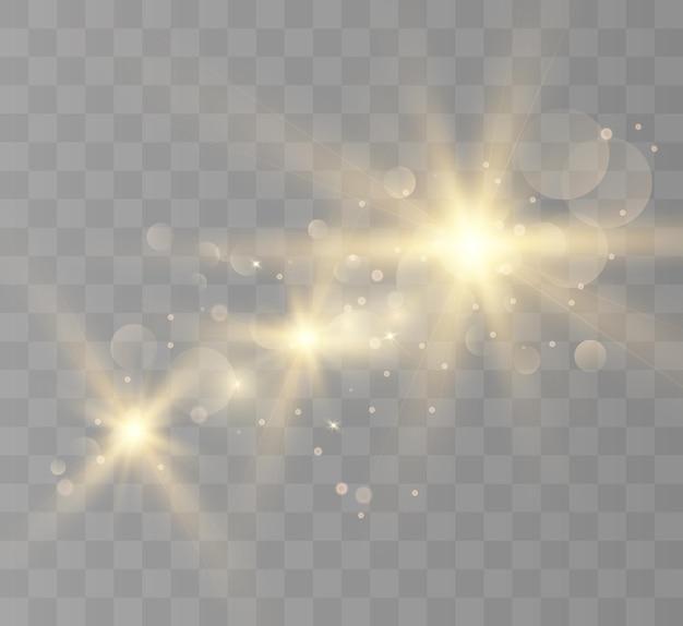 Effet de lumière parasite lens flash clignote avec des faisceaux et des projecteurs