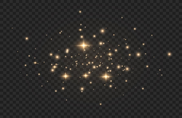 Effet de lumière. particules de poussière magiques scintillantes