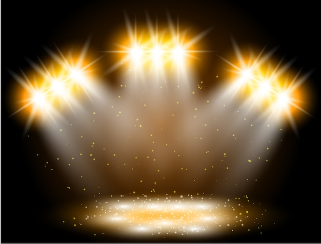 Effet de lumière de projecteur sur fond noir. scène de concert avec des étincelles éclairées par un rayon lumineux doré
