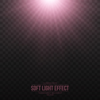Effet de lumière rose doux de vecteur sur fond transparent