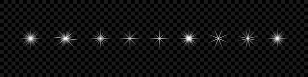 Effet de lumière rougeoyante étoiles blanches sur fond transparent