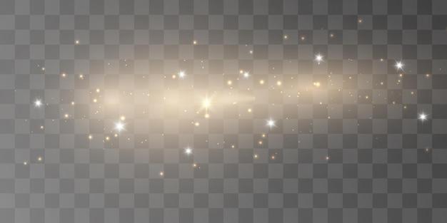 Effet de lumière rougeoyante avec de nombreuses particules de paillettes isolées sur fond transparent clo star de vecteur