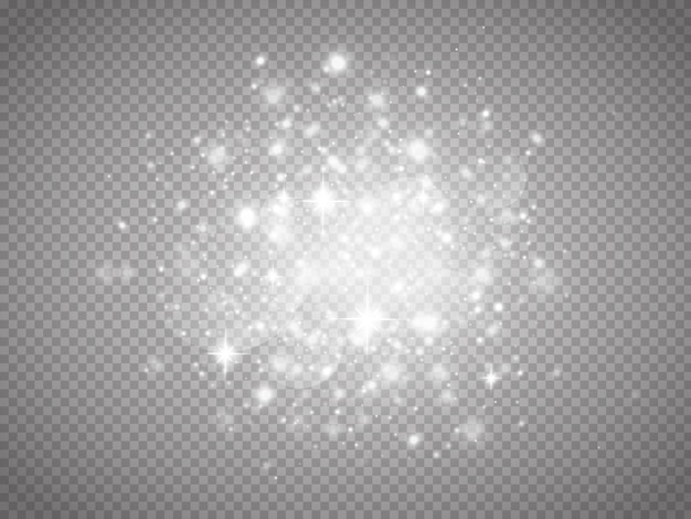 Effet de lumière rougeoyante avec de nombreuses particules de paillettes isolées
