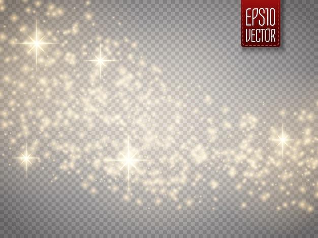 Effet de lumière rougeoyante avec des particules de paillettes isolées