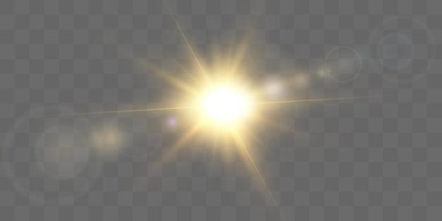 Effet de lumière rougeoyante de vecteur avec des rayons dorés et des reflets de lentille