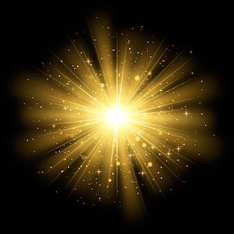Effet de lumière scintillant du lever du soleil