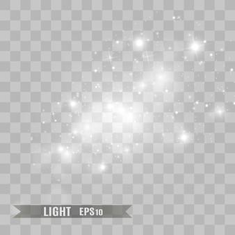Effet de lumière spécial étincelles blanches et étoiles dorées