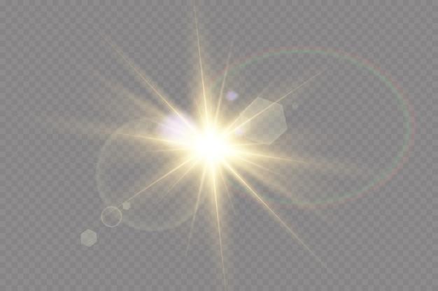 Effet de lumière spécial lens flare.la lumière rougeoyante blanche explose sur un fond transparent. avec ray. soleil brillant transparent, flash lumineux.