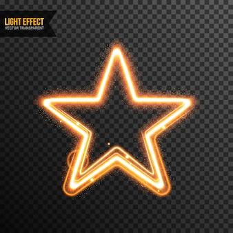 Effet de lumière star vector transparent avec des paillettes dorées
