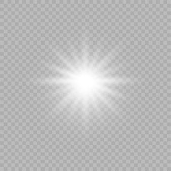 Effet de lumière transparent blanc isolé lueur. rayon brillant avec la foudre