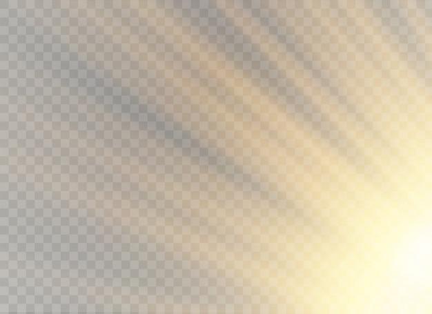Effet de lumière transparente brillante, paillettes, étincelles, flash solaire.