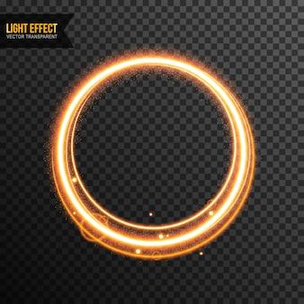 Effet de lumière vecteur cercle transparent avec des paillettes d'or