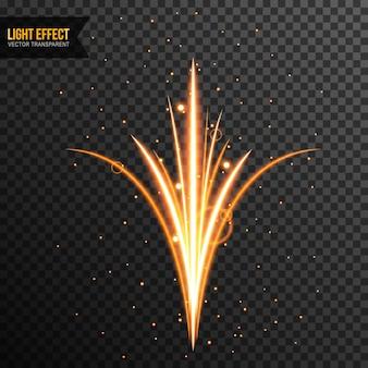 Effet de lumière vecteur transparent avec des étincelles dorées
