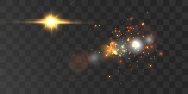 Effet de lumière vive avec des rayons et des reflets pour l'illustration vectorielle