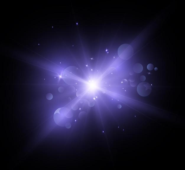 Effet de lumière vive avec des rayons et des reflets pour illustration