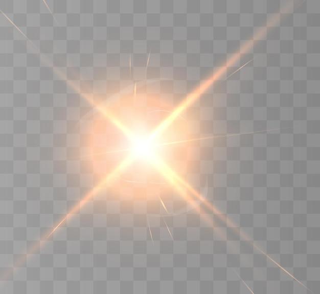 Effet de lumière vive avec des rayons et des reflets
