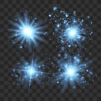 Effet de lumières incandescentes, fusée éclairante, explosion et étoiles.