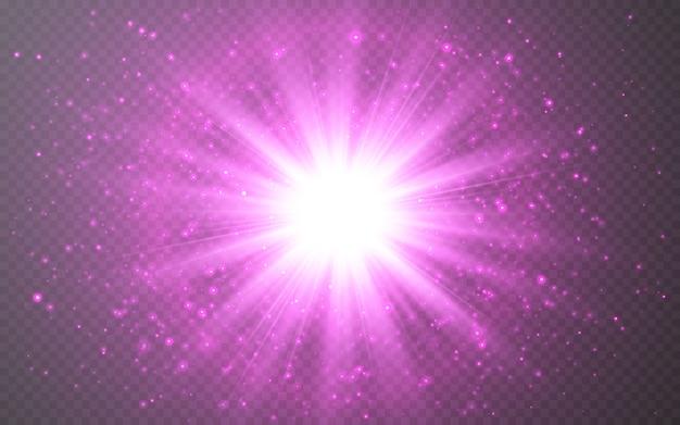Effet de lumières rougeoyantes. rayons de lumière flare abstraite.