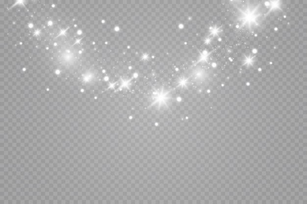 Effet lumineux. un éclair de poussière de noël, un bokeh étincelant.