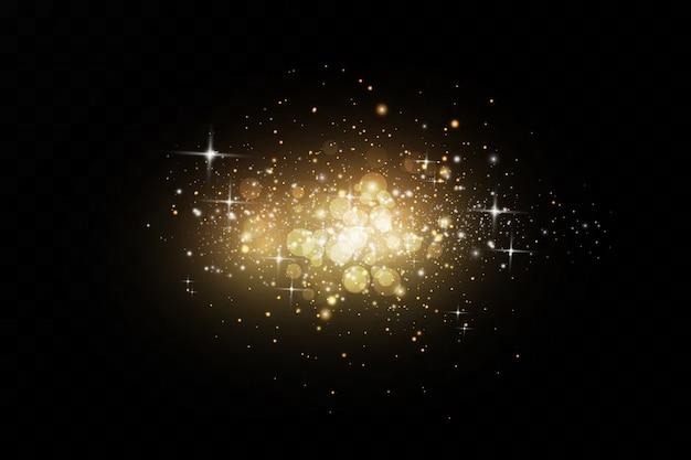 Effet lumineux. effet poussière. les particules de poussière scintillent.