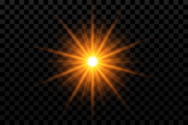 Effet lumineux etoile dorée sur transparent