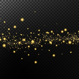 Effet lumineux. fond de particules scintillantes. éléments scintillants sur fond transparent.