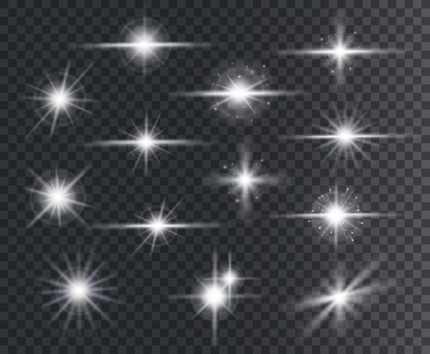 Effet lumineux. lens flares, effets d'étoiles brillantes avec des étincelles et des rayons.