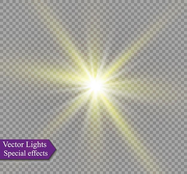 Effet lumineux, lumière du soleil ou lumière des étoiles. lumière éclatante.
