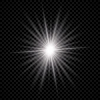 Effet lumineux de la lumière parasite. la lumière rougeoyante blanche explose avec des effets d'étoiles et scintille sur un fond transparent. illustration vectorielle