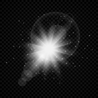 Effet lumineux des reflets d'objectif. effets de starburst de lumières incandescentes blanches avec des étincelles sur un fond transparent. illustration vectorielle