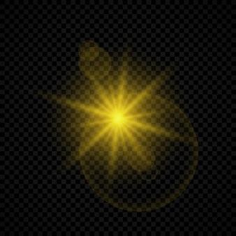 Effet lumineux des reflets d'objectif. effets de starburst de lumières rougeoyantes jaunes avec des étincelles sur un fond transparent. illustration vectorielle