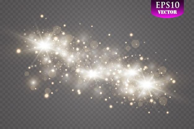 Effet lumineux spécial étincelles et paillettes. sparkles sur fond transparent. particules de poussière magiques scintillantes