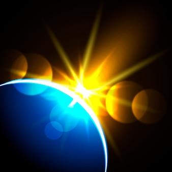 Effet lumineux de la terre colorée au lever du soleil